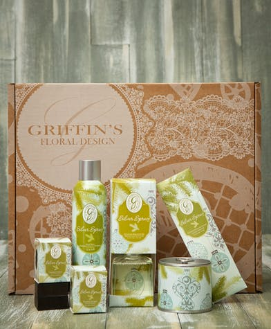 Silver Spruce Gift Set Griffins Aroma & Candle Baskets Columbus Ohio