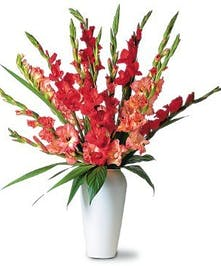 Stunning summer gladiolis in a wonderful vase.