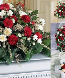 Sympathy Set Of Carnations And Mum Flowers