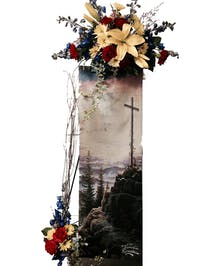 This wall panel(13*36) of the Resurrection & The Life is on an easel with with flowers added