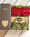 12 Roses & Dom Perignon Champagne Gift Box