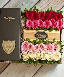 24 Roses & Dom Perignon Champagne Gift Box