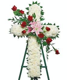 Delicate Beauty Cross Sympathy Flowers Columbus Ohio