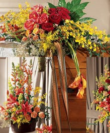 A beautiful display of mango colors and tropical flowers