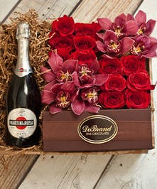 Orchids & Roses Martini Rossi Champagne Gift Box