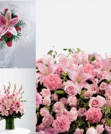 This stunning set of all pink flowers is nothing short of stunning. Pick the whole set at a discount, or choose only the individual items you like.