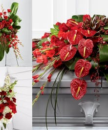 A unique spray of red tropical anthirium, orchids, and mixed flowers. Pick the whole set at a discount, or choose only the individual items you like.