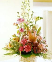 Mixture of soft pastel lilies & other long lasting flowers