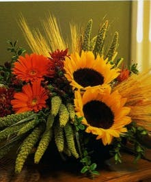 Sunflowers and holiday flowers artfully designed.