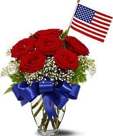 Six red roses with patriotic accents