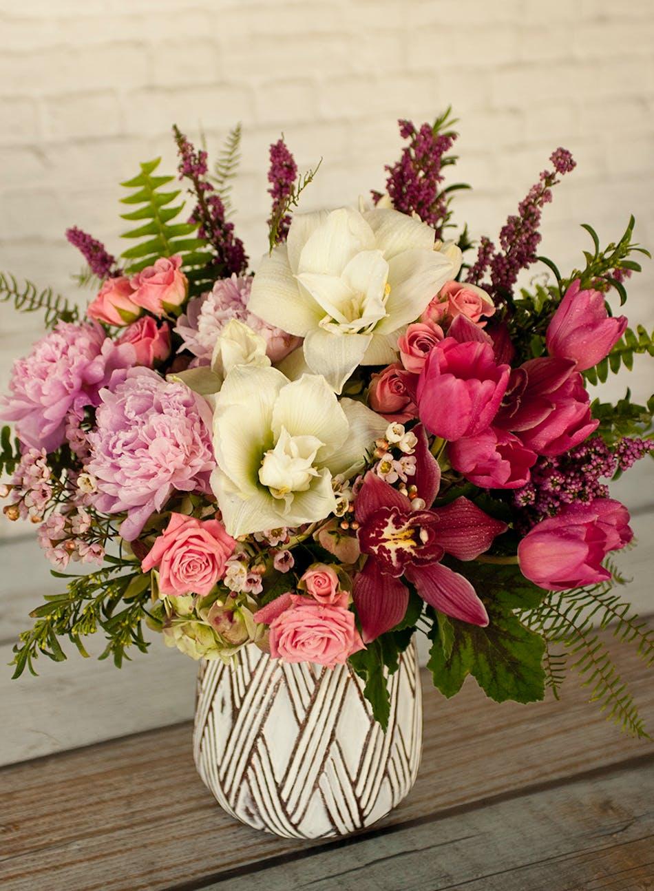 Victorian Garden Vase Valentines Day Flowers Columbus Florists