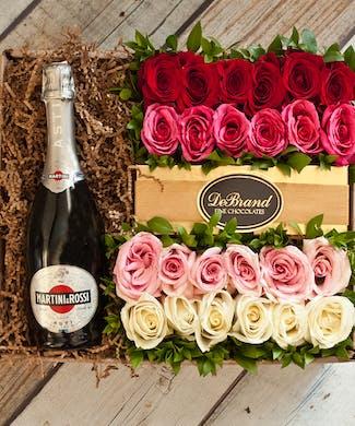 24 Roses & Martini Rossi Champagne Gift Box