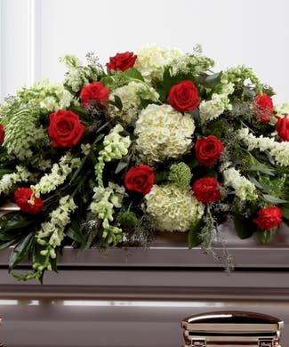 Mixed Red &  White Casket Spray