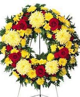 Colorful Memories Standing Funeral Wreath